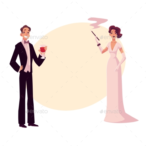 Man and Woman in 1920s Style Clothes - People Characters