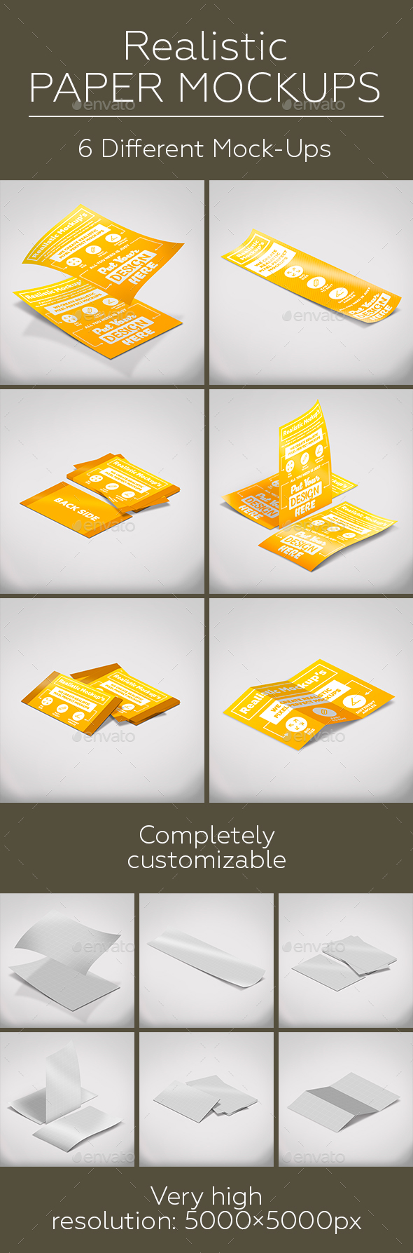 Paper Mock-Ups | A4 Portrait Paper | Business Cards | A4 Tri-Fold Leaflet - Print Product Mock-Ups