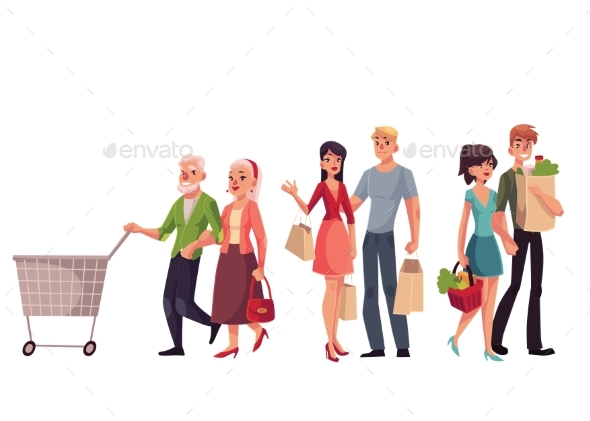 Young, Middle Aged and Senior Couples Shopping - People Characters
