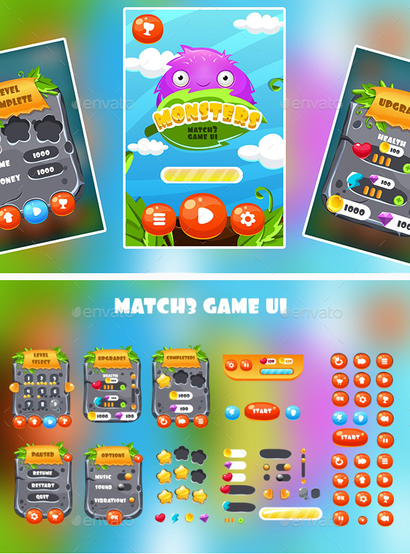 Match 3 GUI - User Interfaces Game Assets