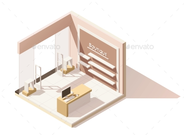 Isometric Low Poly Boutique Cutaway Icon - Retail Commercial / Shopping