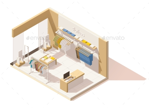 Isometric Low Poly Clothing Store Icon - Retail Commercial / Shopping