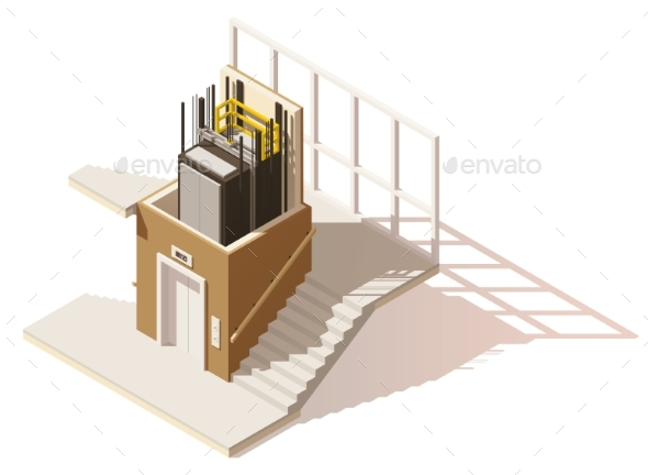 Isometric Low Poly Elevator Cutaway Icon - Buildings Objects