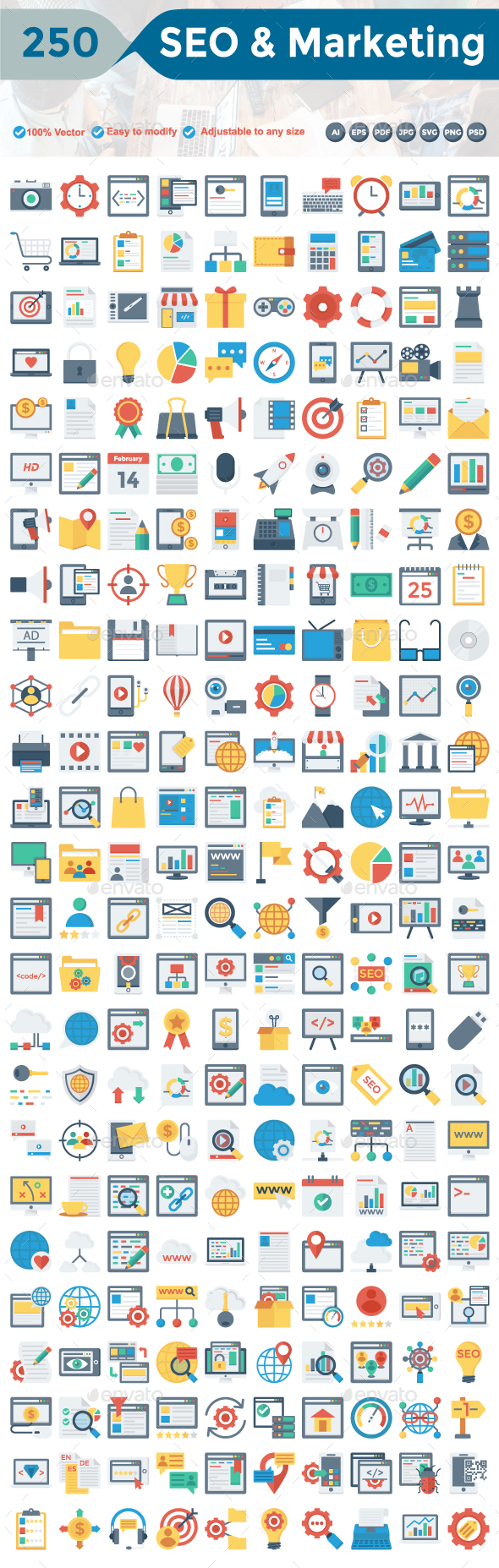 SEO and Marketing Flat Icons - Business Icons