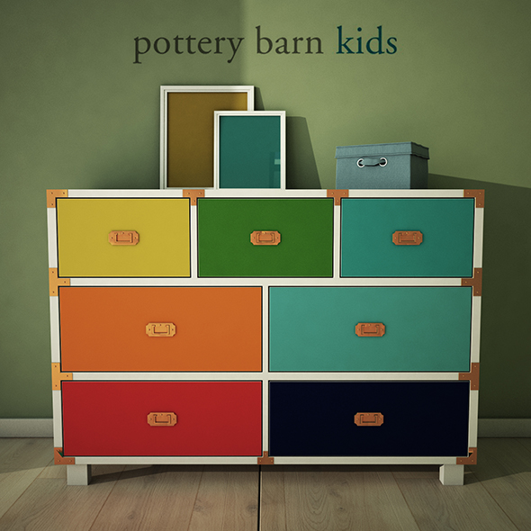 PotteryBarn, Gemma Campaign Extra Wide Dresser - 3DOcean Item for Sale