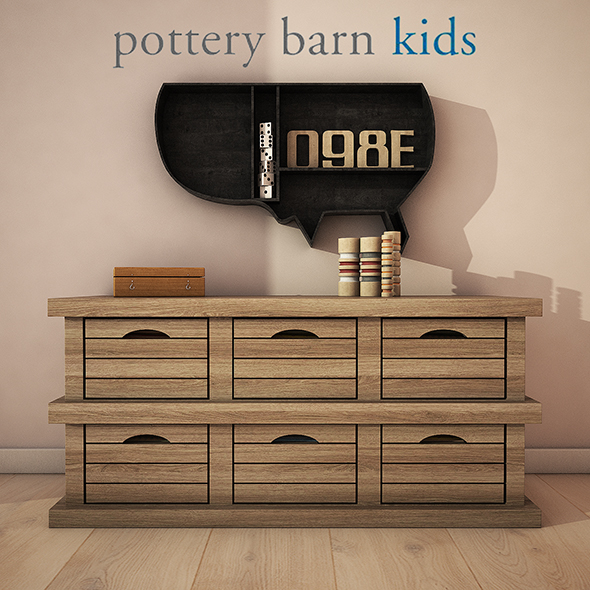PotteryBarn - Low crate storage - 3DOcean Item for Sale