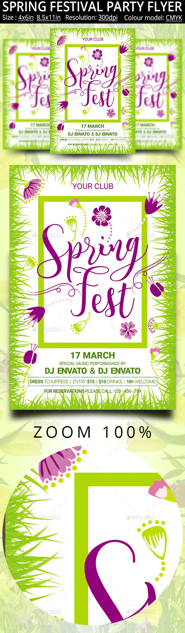 Spring Festival Party Flyer Poster - Clubs & Parties Events
