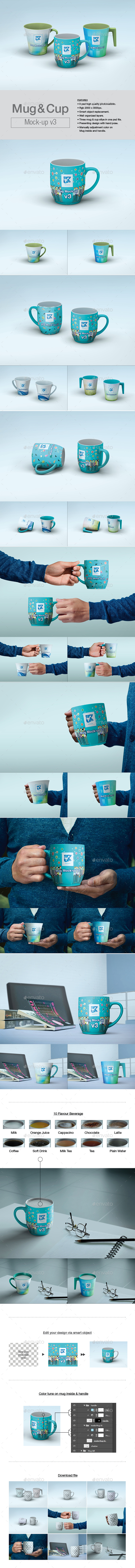 Mug & Cup Mock-up v3 - Product Mock-Ups Graphics