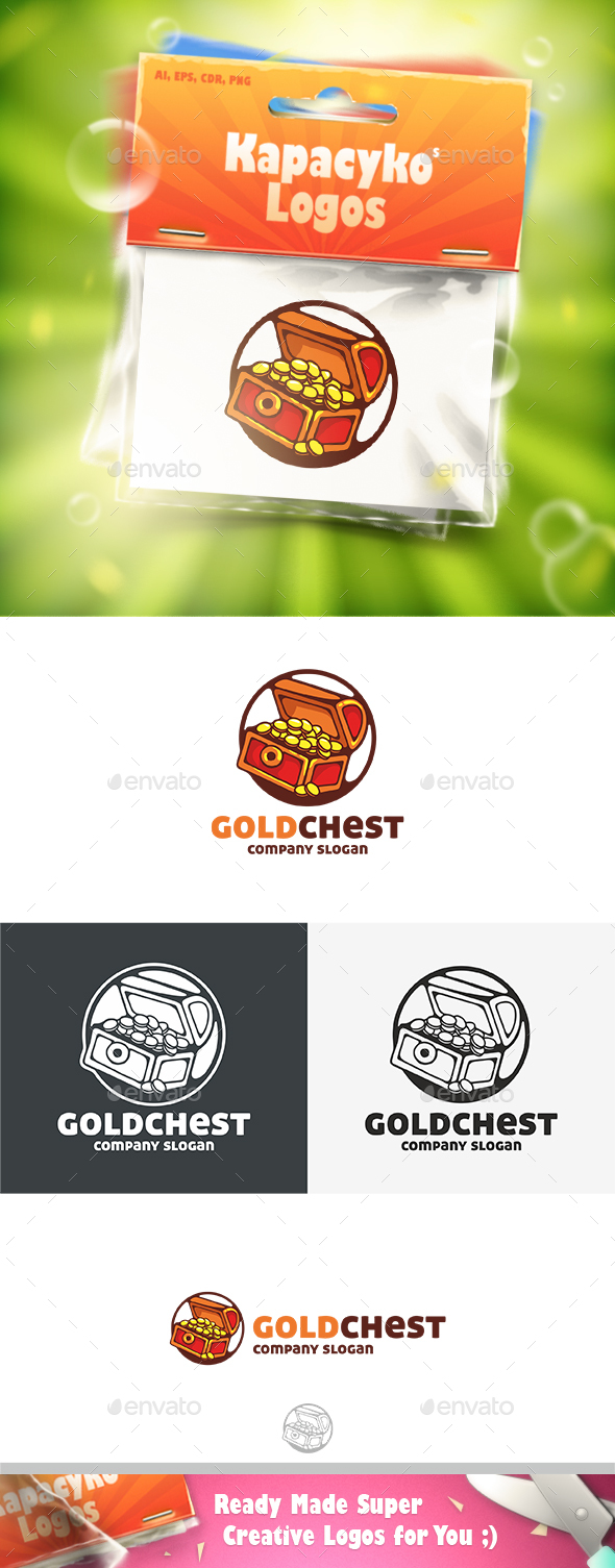 Gold Chest Logo - Vector Abstract