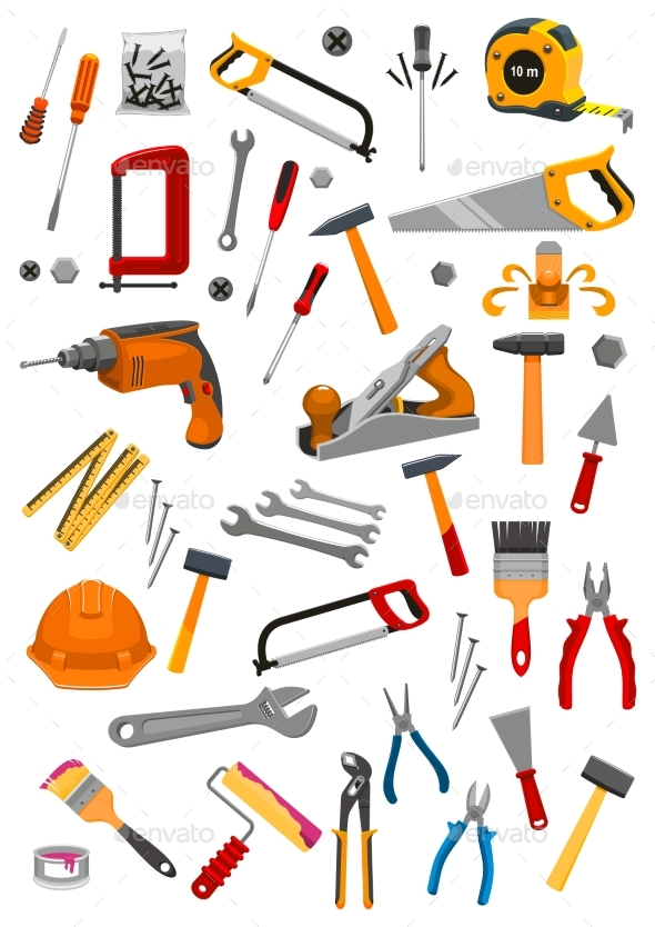 Building Repair Work Tools Vector Isolated Icons - Man-made Objects Objects
