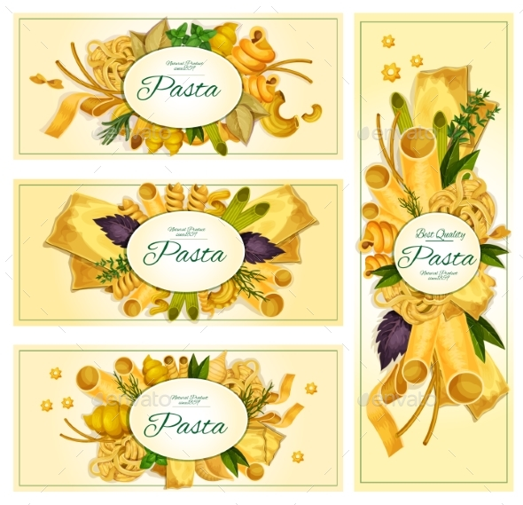 Pasta Macaroni Italian Cuisine Vector Banners Set - Food Objects
