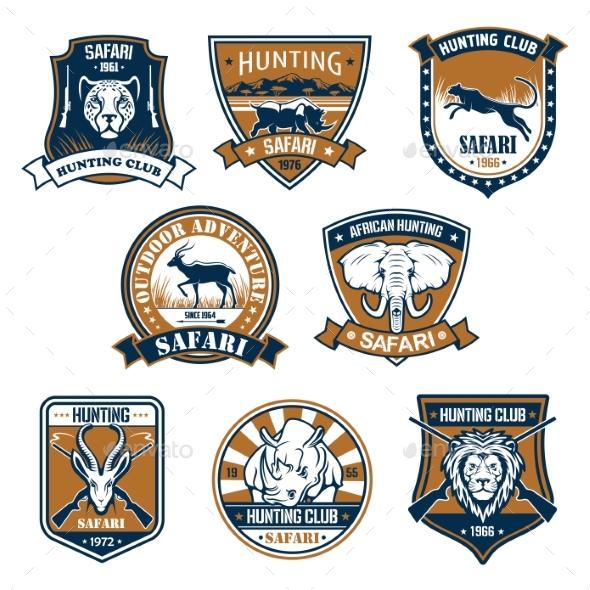 Heraldry Icons of Wild Safari Animals - Sports/Activity Conceptual
