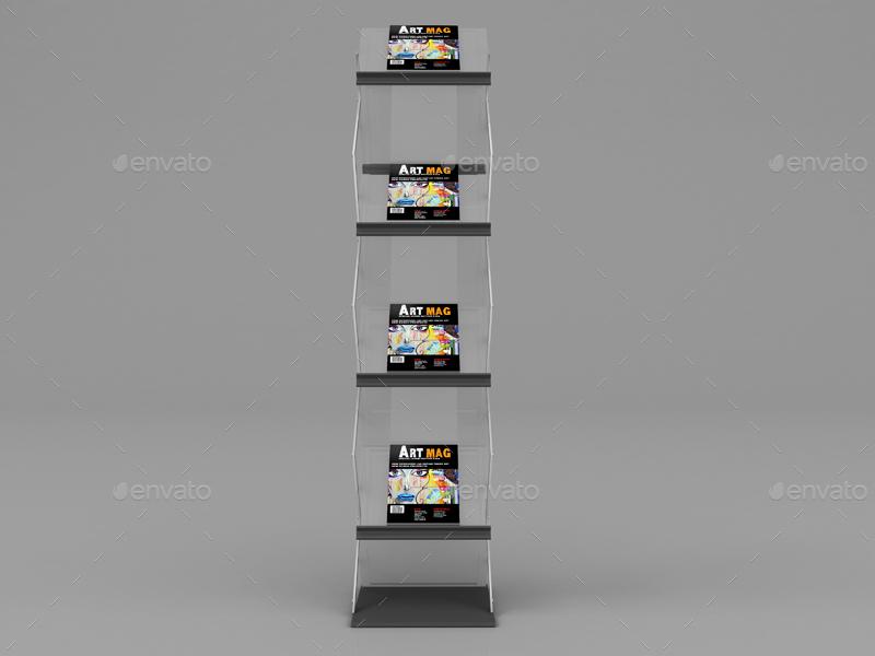 Magazine Brochure Display Stand Mockup By Pure3ddesign