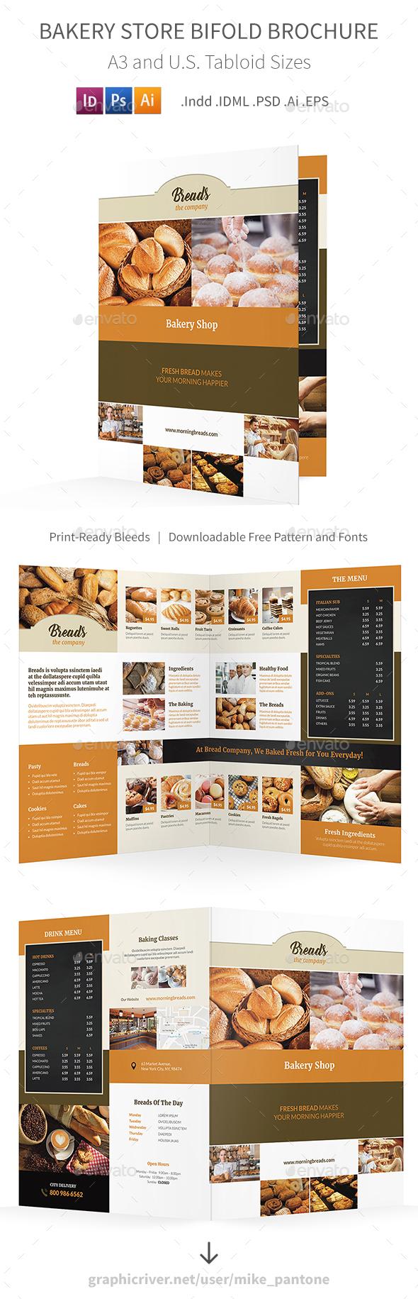 Bakery Store Bifold / Halffold Brochure 2 - Informational Brochures