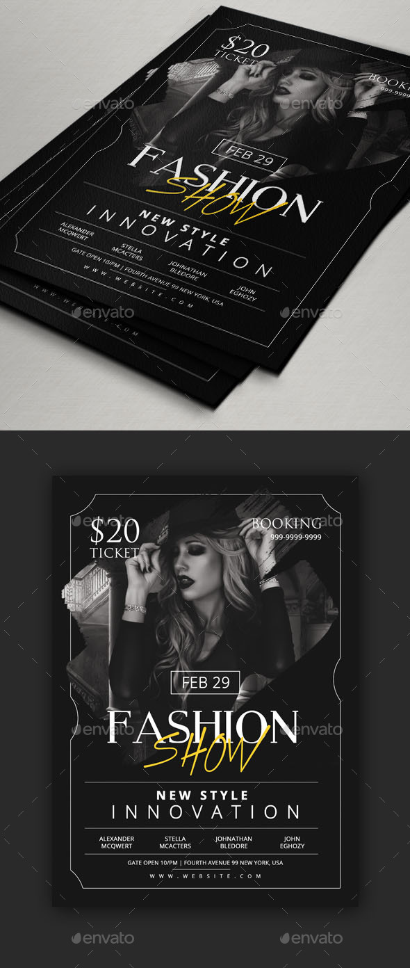 fashion show flyer template by comodensis graphicriver. Black Bedroom Furniture Sets. Home Design Ideas