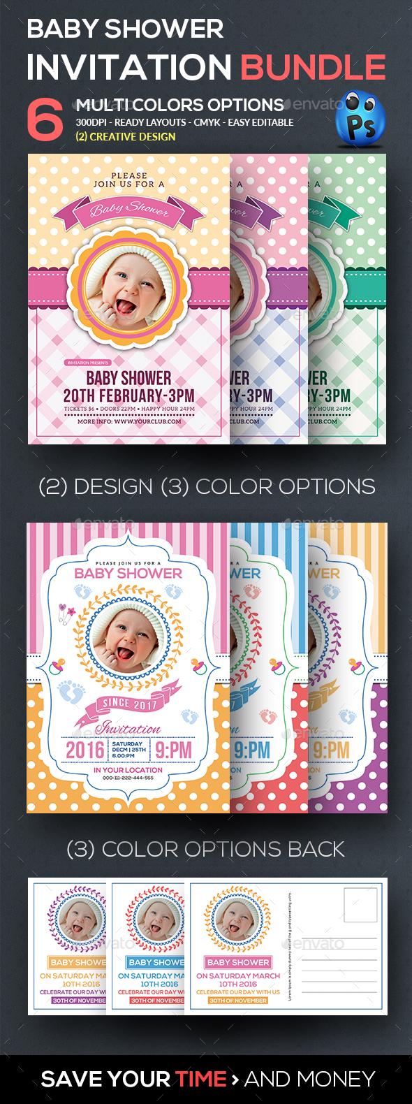 Baby Shower Flyer Bundle - Cards & Invites Print Templates
