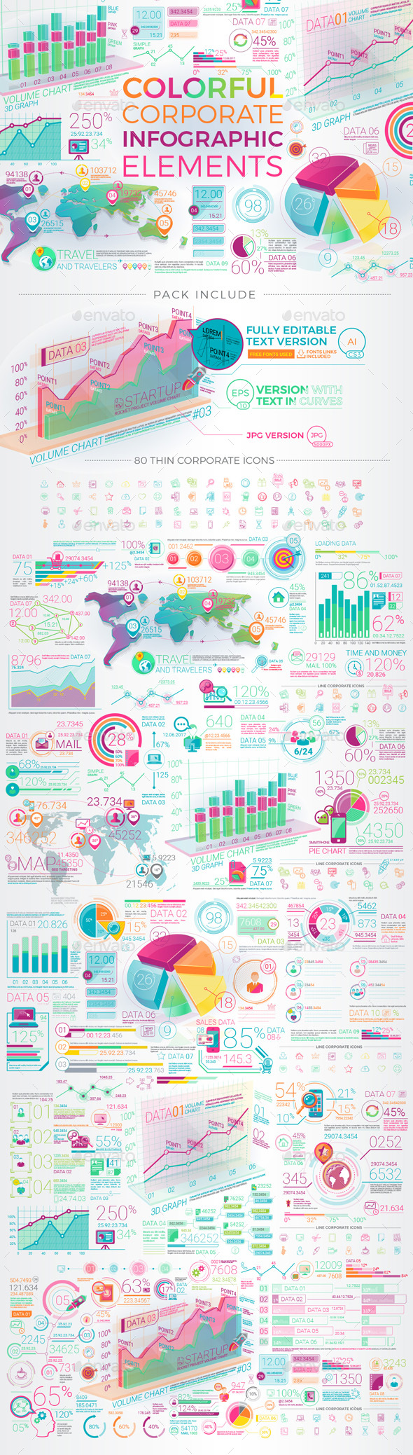 Colorful Corporate Infographic Elements - Infographics