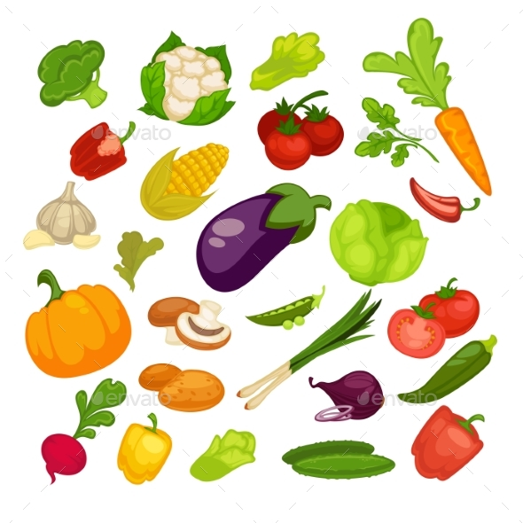 Vegetables Icons Set - Food Objects