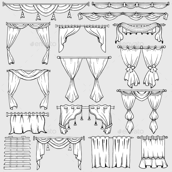 Curtains Window Shades and Drapery Icons - Man-made Objects Objects