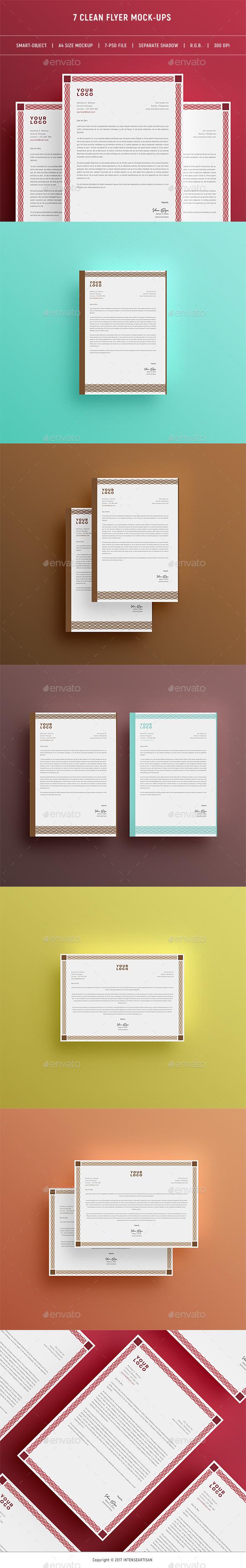 Clean & Flat A4 Flyer Mock-Ups - Flyers Print