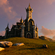 Fantasy Castle On a Mountain Slope - VideoHive Item for Sale
