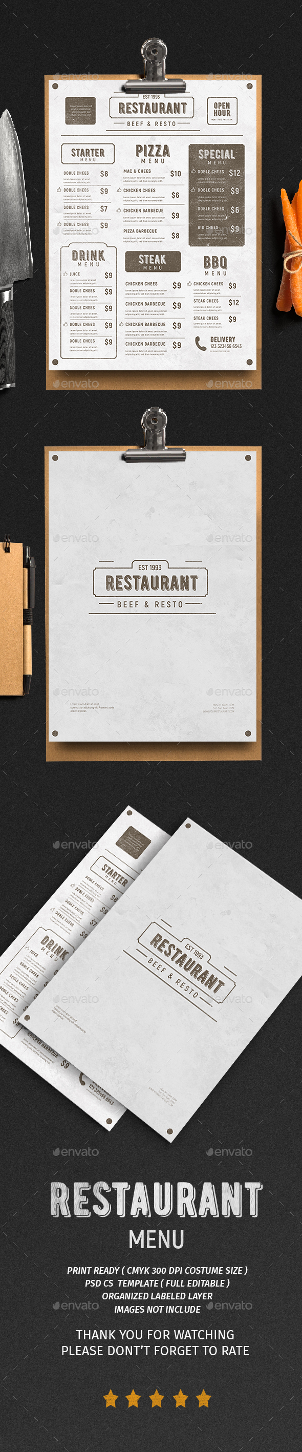 Vintage Menu Vol. 3 - Food Menus Print Templates