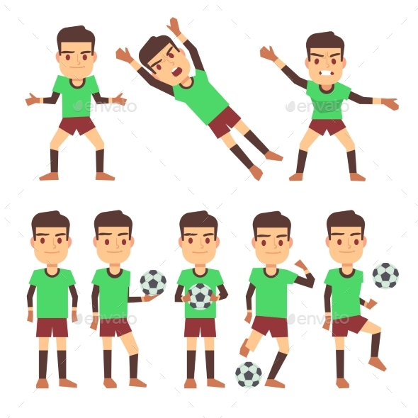 Soccer Players Set Vector Illustration Isolated - Sports/Activity Conceptual