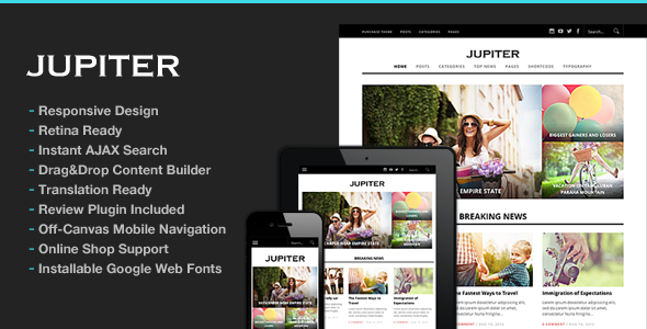 Jupiter Responsive Magazine Theme - News / Editorial Blog / Magazine