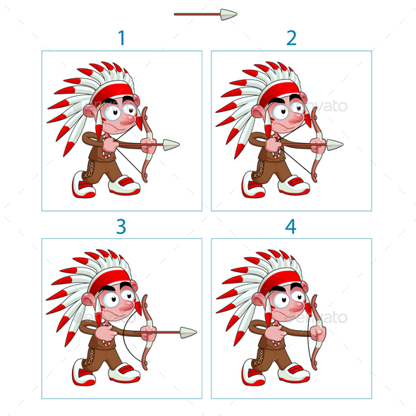 Animation of Native Boy in 4 Frames with Bow and Arrow - People Characters