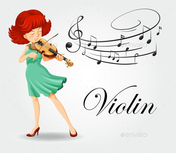 Woman Playing Violin with Music Notes - People Characters