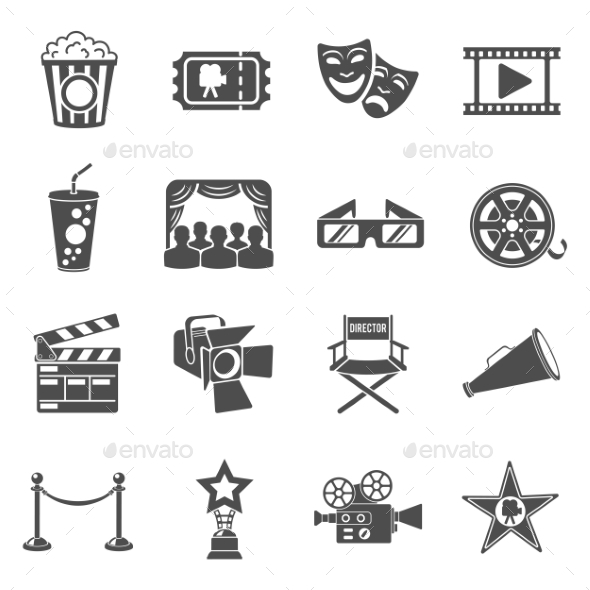 Cinema and Movie Icons Set - Media Technology