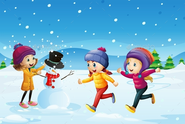 Three Kids Playing Snowman in the Snow Field - People Characters