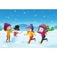 Three Kids Playing Snowman in the Snow Field - GraphicRiver Item for Sale