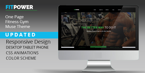 Fitpower One Page Muse Template - Landing Muse Templates