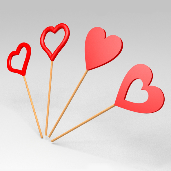 Hearts On A Stick - 3DOcean Item for Sale