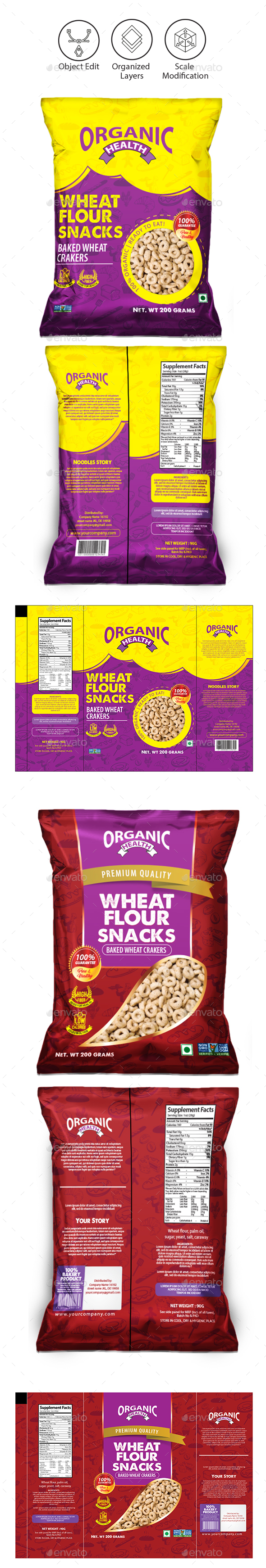 Snacks Packaging Template - Packaging Print Templates