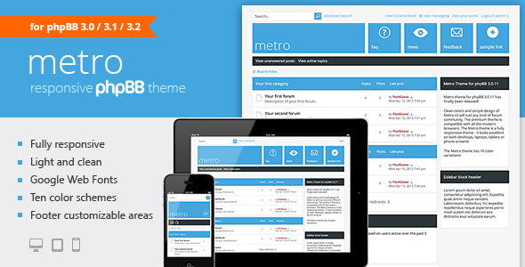 Download Free Metro — A Responsive Theme for phpBB3