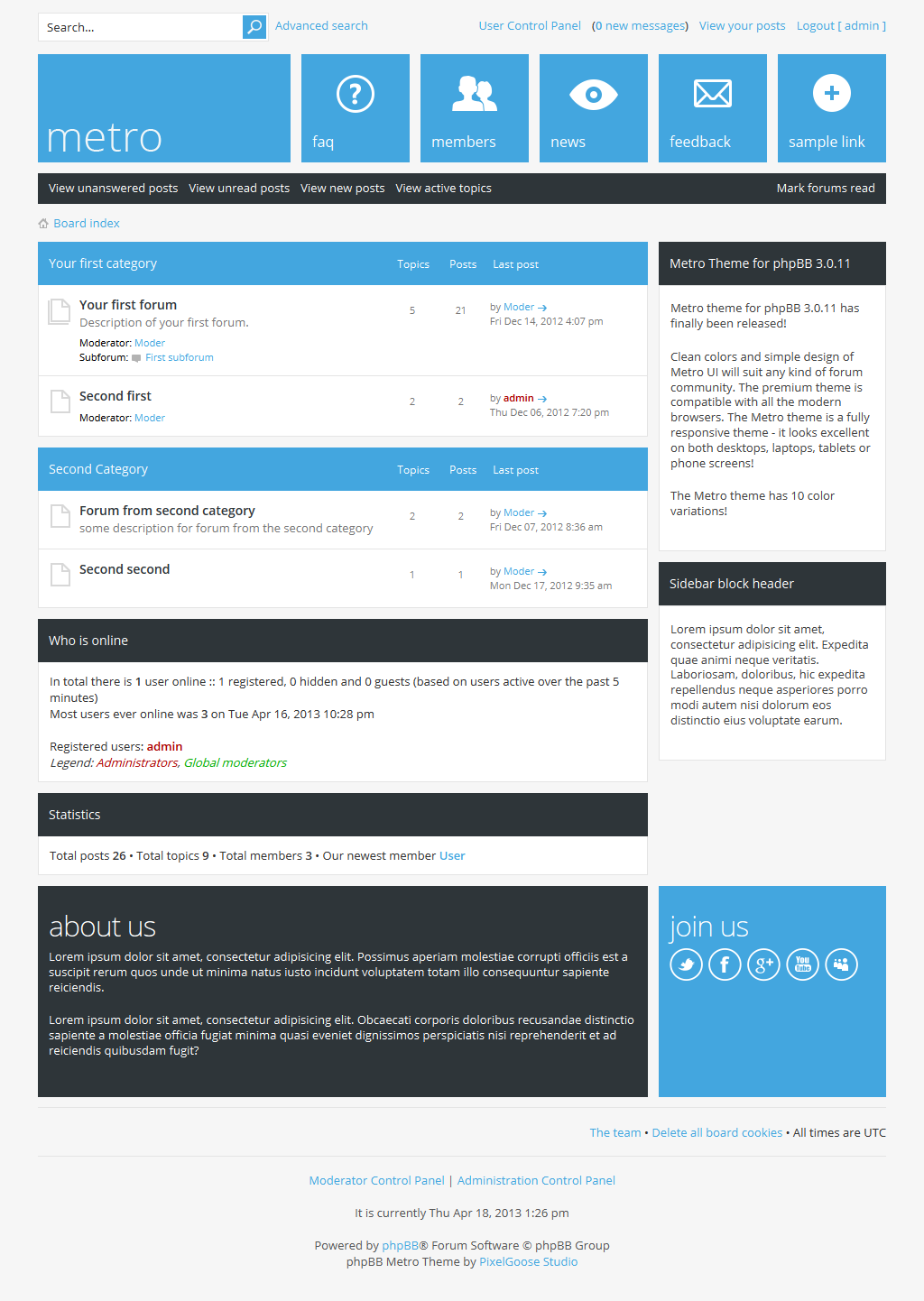 metro a responsive theme for phpbb3 by pixelgoose themeforest