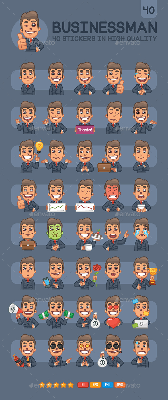 Businessman Stickers Pack - People Characters