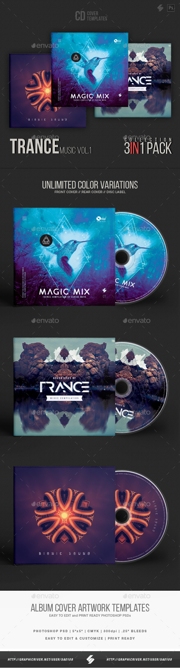 Trance Music CD Cover Artwork Templates Bundle - CD & DVD Artwork Print Templates