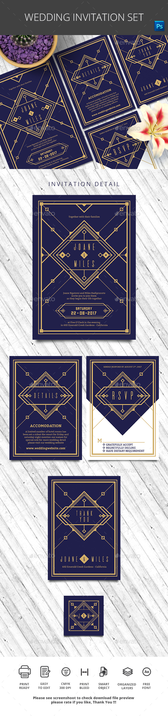 Wedding Invitation Set - Invitations Cards & Invites