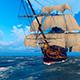 Large Sailing Ship At Sea