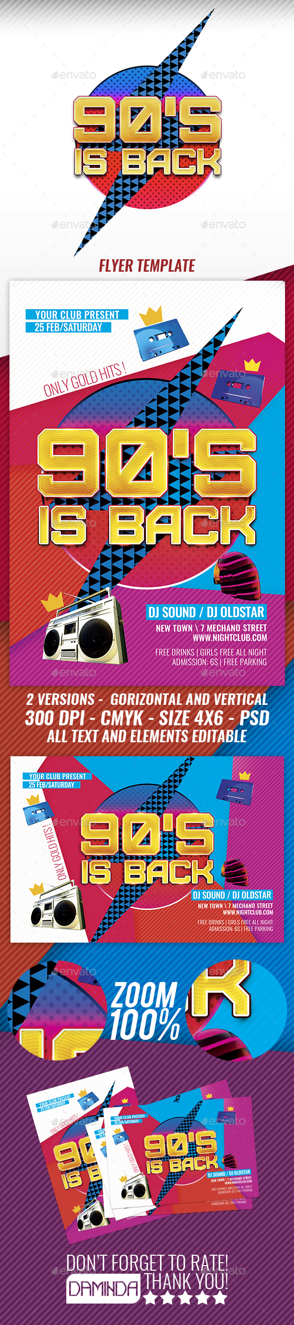 90's is back 2 Flyer Template - Clubs & Parties Events