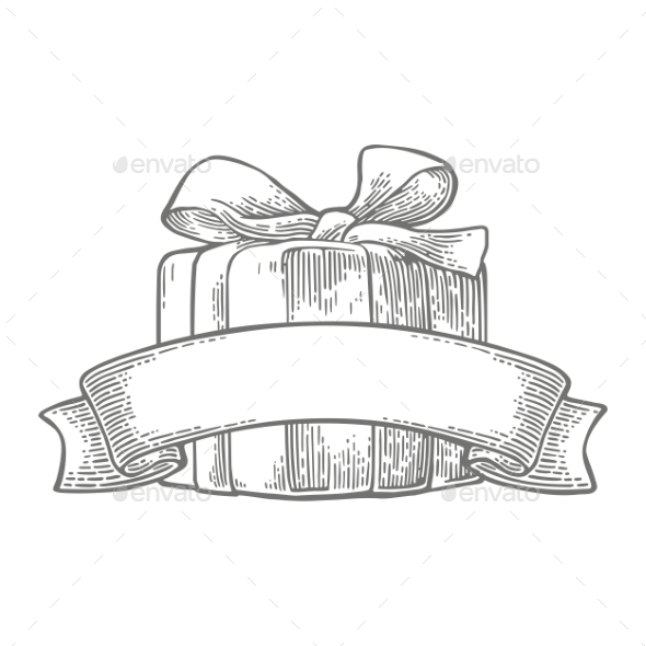 Gift Box with Ribbon and Bow - Miscellaneous Vectors