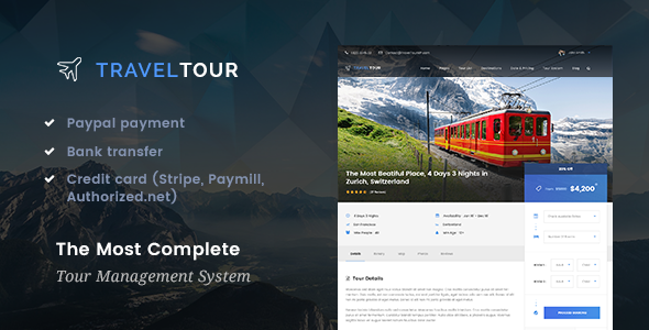 Travel Tour – Travel & Tour Booking Management System WordPress Theme