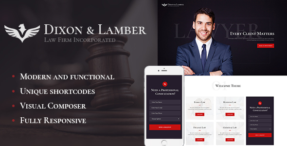 Dixon & Lamber | Law Firm WordPress Theme