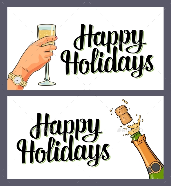 Bottle of Champagne Explosion and Hand Hold Glass - Miscellaneous Seasons/Holidays