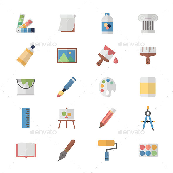 Flat Color Icons Design Set of Art and Painting Icons - Icons