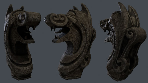 Wood dragon head - 3DOcean Item for Sale