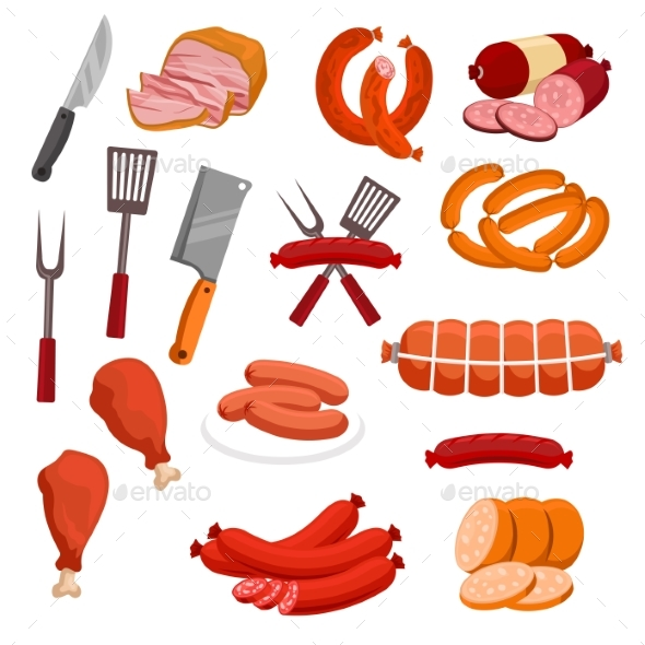 Butchery Meat Sausage Salami Vector Isolated Icons - Food Objects